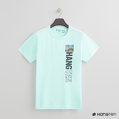 Hang Ten - 男裝 - 有機棉-彩色圖印圓領T恤 - 綠