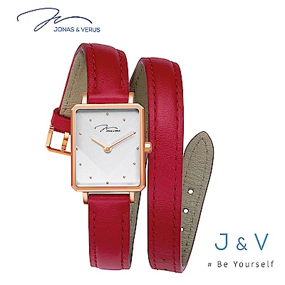 J&V-My Queen執我系列-環繞皮帶休閒方形女錶-紅 X02059-Q3.PPWLR