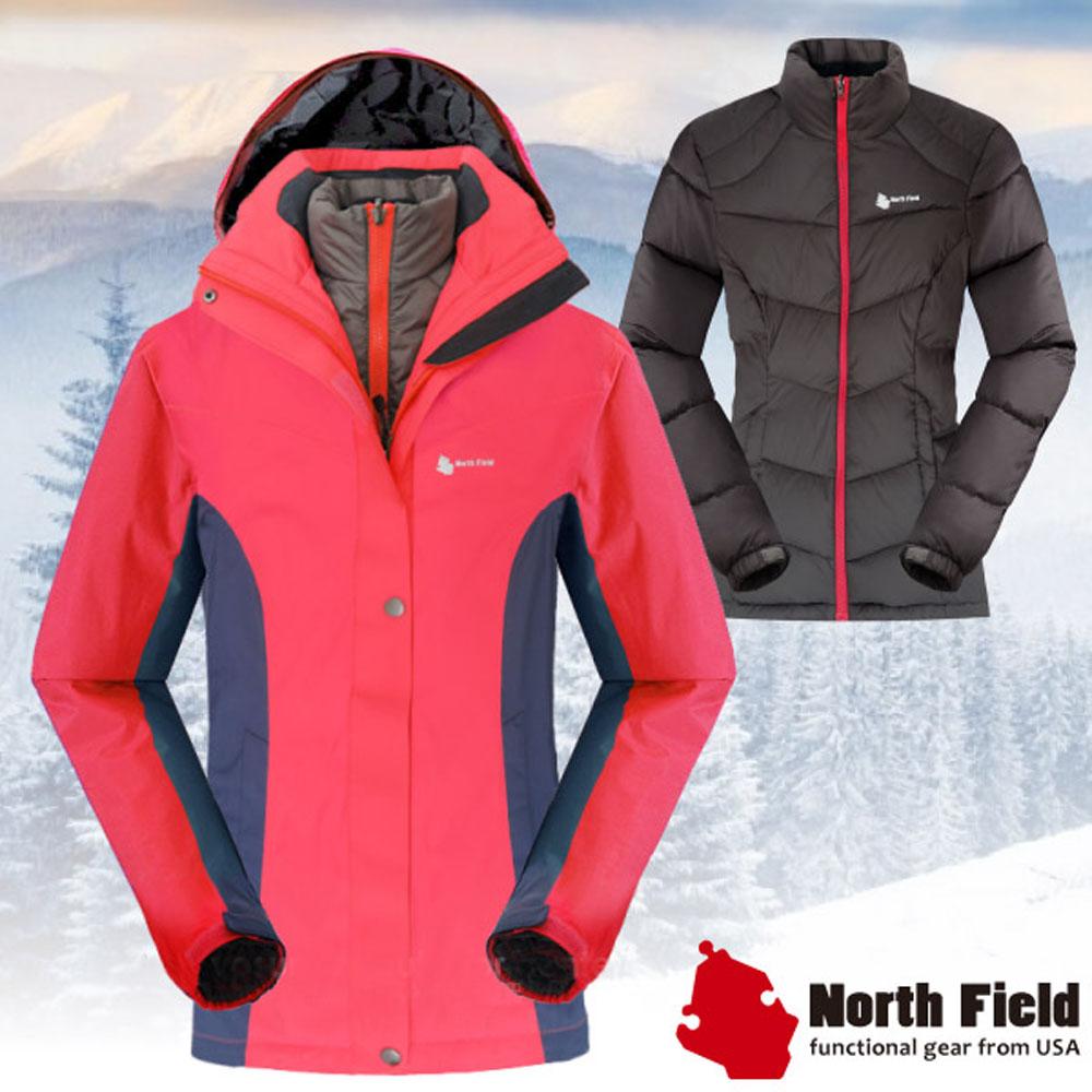 North Field 女 二件式防風防水外套+內層保暖羽絨夾克_深桃紅