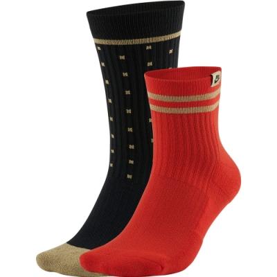 NIKE 襪子 運動襪 長襪 中筒襪 黑紅 CU8324901 四雙組 U SNKR SOX CREW 2PR - SP21