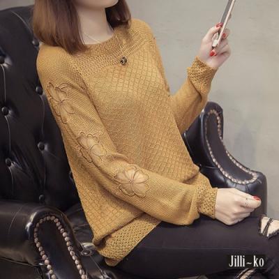 JILLI-KO 花朵鏤空韓版針織衫- 黃/白