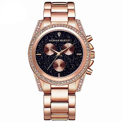 HANNAH MARTIN 黑夜繁星裝飾三眼不鏽鋼腕錶(HM-1108)黑x40mm