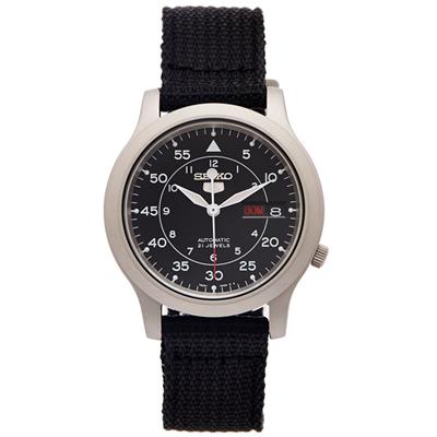 SEIKO 5號盾牌軍黑色帆布機械手錶(SNK809K2)-黑面X黑色/37mm