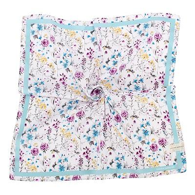 LAURA ASHLEY 繽紛滿版花卉純棉帕領巾-水藍色