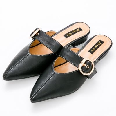River-Moon穆勒鞋-氣質圓扣低跟穆勒鞋-黑