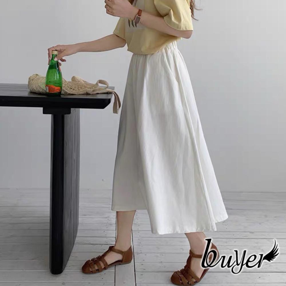 【白鵝buyer】簡約 休閒舒適棉質寬褲裙(白色)