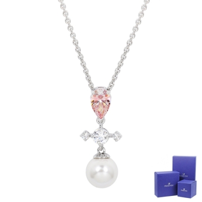 SWAROVSKI 施華洛世奇 Perfection璀璨十字水晶珍珠鏈墜銀色項鍊