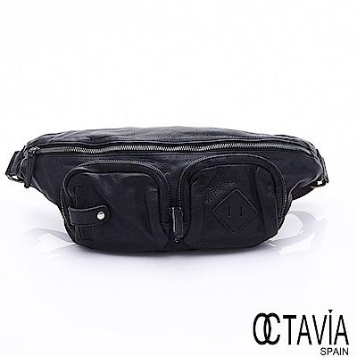 OCTAVIA 8 真皮 - 都會探險家 軟牛皮雙口袋三角斜背包 -隱黑