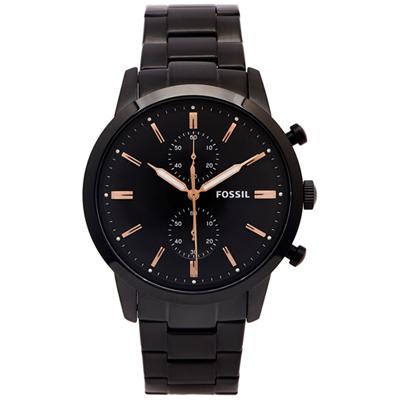 FOSSIL 黑色霸氣款的圓弧鏡面計時手錶(FS5379)-黑面X黑色/43mm