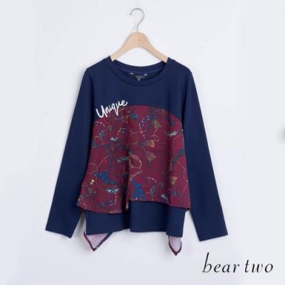 bear two- 雪紡拼接造型上衣 - 藍