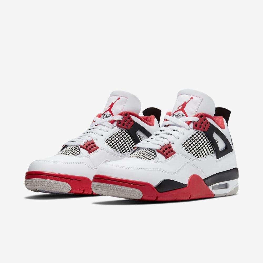 Nike 籃球鞋 Air Jordan 4 Retro 男鞋 喬丹 經典 AJ4 復刻 氣墊 避震 穿搭 白紅 DC7770160