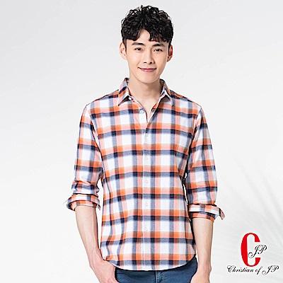 Christian清新質男細格襯衫_橙白格(RW801-25)