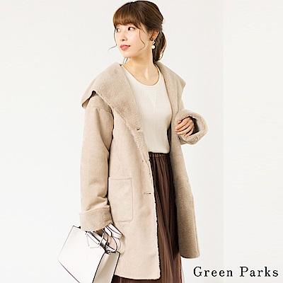 Green Parks 經典毛絨連帽長版大衣