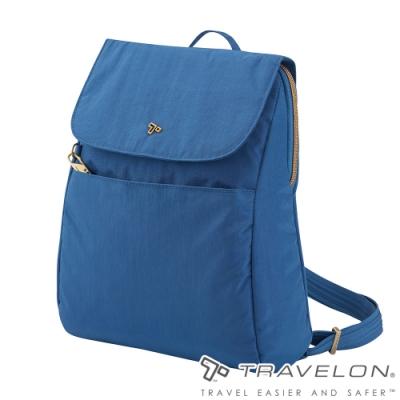 【Travelon美國防盜包】SIGNATURE後背包TL-SO2004海藍/RFID/防盜鎖/防盜保護網/休閒旅遊包