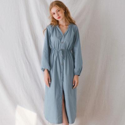 AIR SPACE LADY V領抽繩綁帶排釦長袖洋裝(藍)