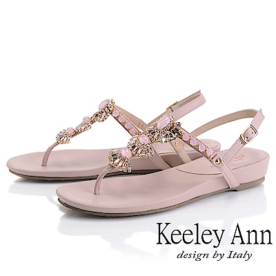 Keeley Ann璀璨寶石 夾腳人字後繫帶平底涼鞋(粉紅色)