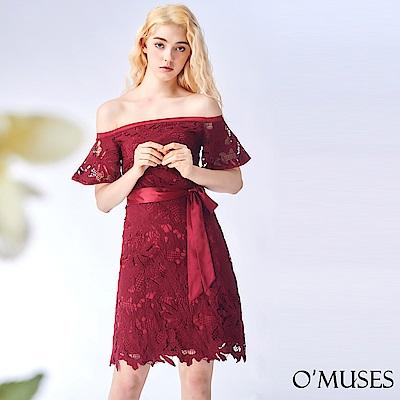 OMUSES 一字領蕾絲刺繡洋裝