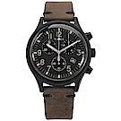 TIMEX 天美時 INDIGLO專利照明三眼計時真皮手錶-黑x深褐/42mm