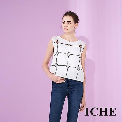 ICHE 衣哲 設計款刺繡格紋印花無袖100%高磅棉造型上衣-白