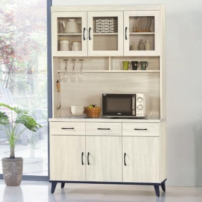 MUNA 達格鋼刷白4尺餐櫃/碗盤櫃(全組)  121X43X202cm