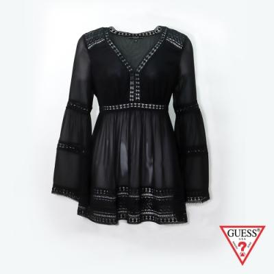 GUESS-女裝-V領喇叭袖雪紡上衣-黑 原價3290