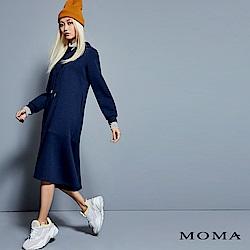 MOMA 假兩件高領連帽洋裝