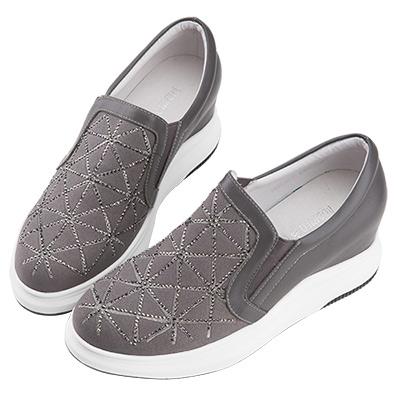 Robinlo & Co.運動感幾何拼接牛皮內增高休閒鞋 灰