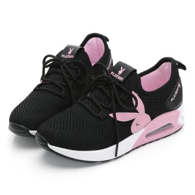 PLAYBOY針織綁帶氣墊休閒鞋-黑粉-Y6238C9