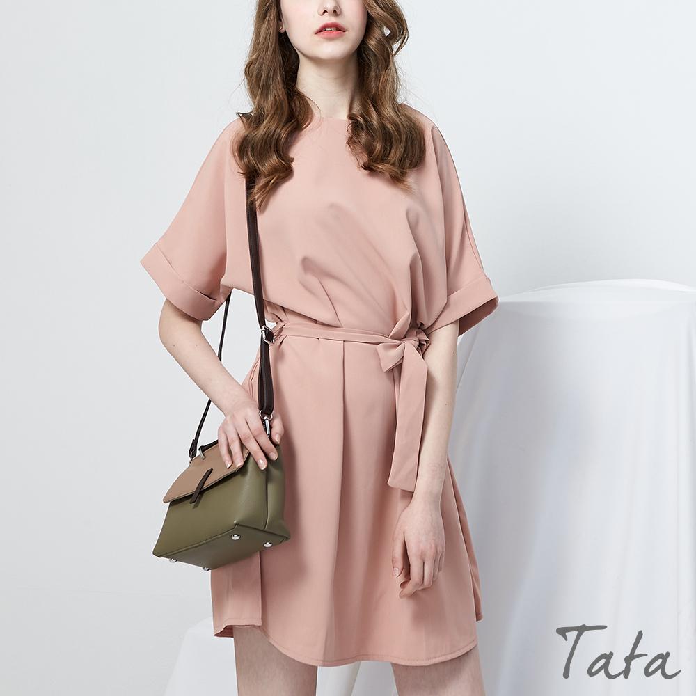 圓領綁帶雪紡洋裝 共二色 TATA