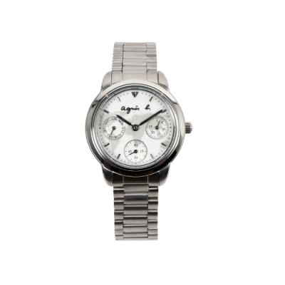 agnes b. 環遊世界地圖日曆女錶-白x銀/32mm