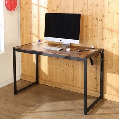佳美 台灣製仿舊木紋辦公桌 工作桌 會議桌 桌子 (附插座) 128x60x77cm