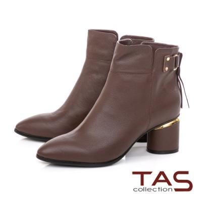 TAS後流蘇綁帶牛皮拉鍊短靴-經典咖