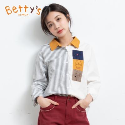 betty's貝蒂思 色塊拼接動物繡線襯衫(白色)