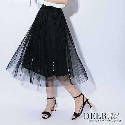 DEER.W 直條珠細褶中長紗裙(共三色)