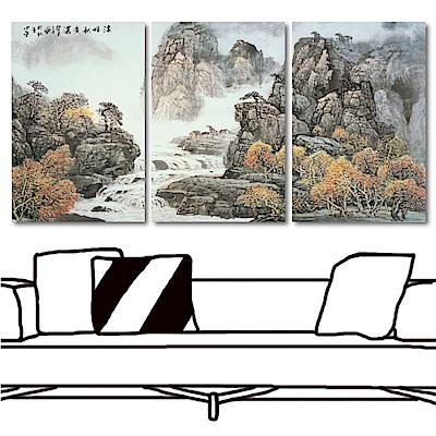 橙品油畫布 三聯式直幅山水無框畫-高聳40x60cm