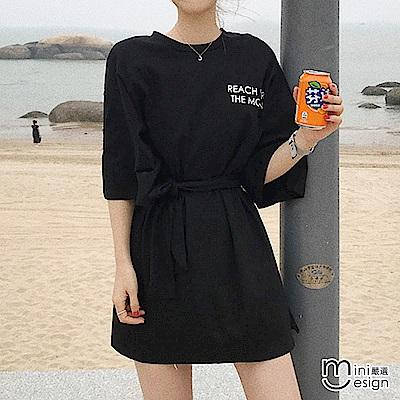 寬鬆長版字母T恤/連身裙 黑色(附綁帶)-mini嚴選