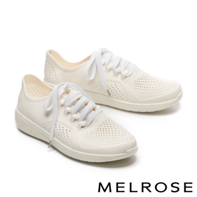 休閒鞋 MELROSE 簡約時尚沖孔綁帶厚底休閒鞋-白