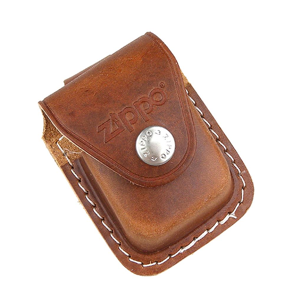 ZIPPO 金屬扣式~打火機皮套(棕色款)