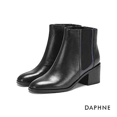 達芙妮DAPHNE 短靴-牛皮拼接撞色異材質粗跟短靴-黑