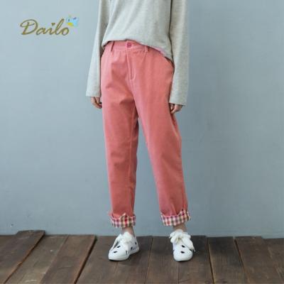 【Dailo】貓耳朵造型反摺-長褲(四色)