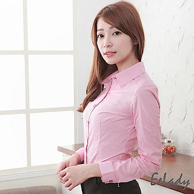 EELADY-OL都會優雅條紋長袖襯衫(紅色)