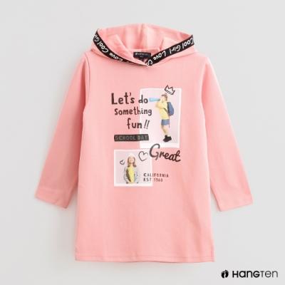 Hang Ten -童裝 - 俏皮LOGO七分袖連帽上衣 - 粉