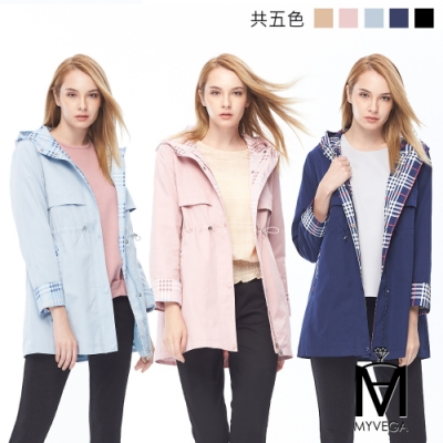 麥雪爾 MA英式格紋連帽風衣外套-共四色