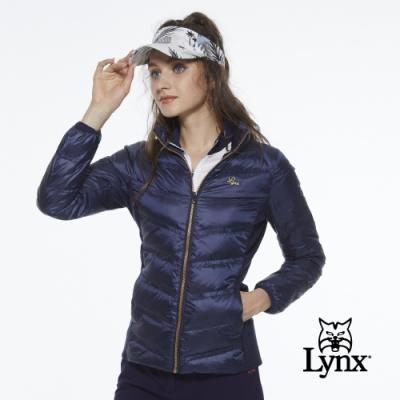 【Lynx Golf】女款保暖輕薄羽絨素面剪接款長袖外套-深藍色