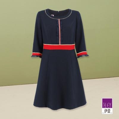 ILEY伊蕾 學院風配色質感洋裝(藍)