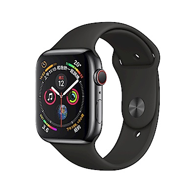 Apple Watch S4 LTE 44mm 太空黑色不鏽鋼錶殼搭配黑色運動型錶帶 @ Y!購物