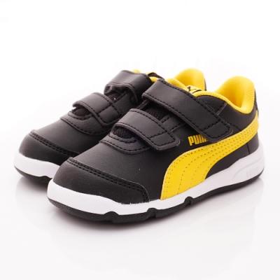 PUMA童鞋 雙絆帶皮質運動鞋款 ON92523-08黑黃(小童段)