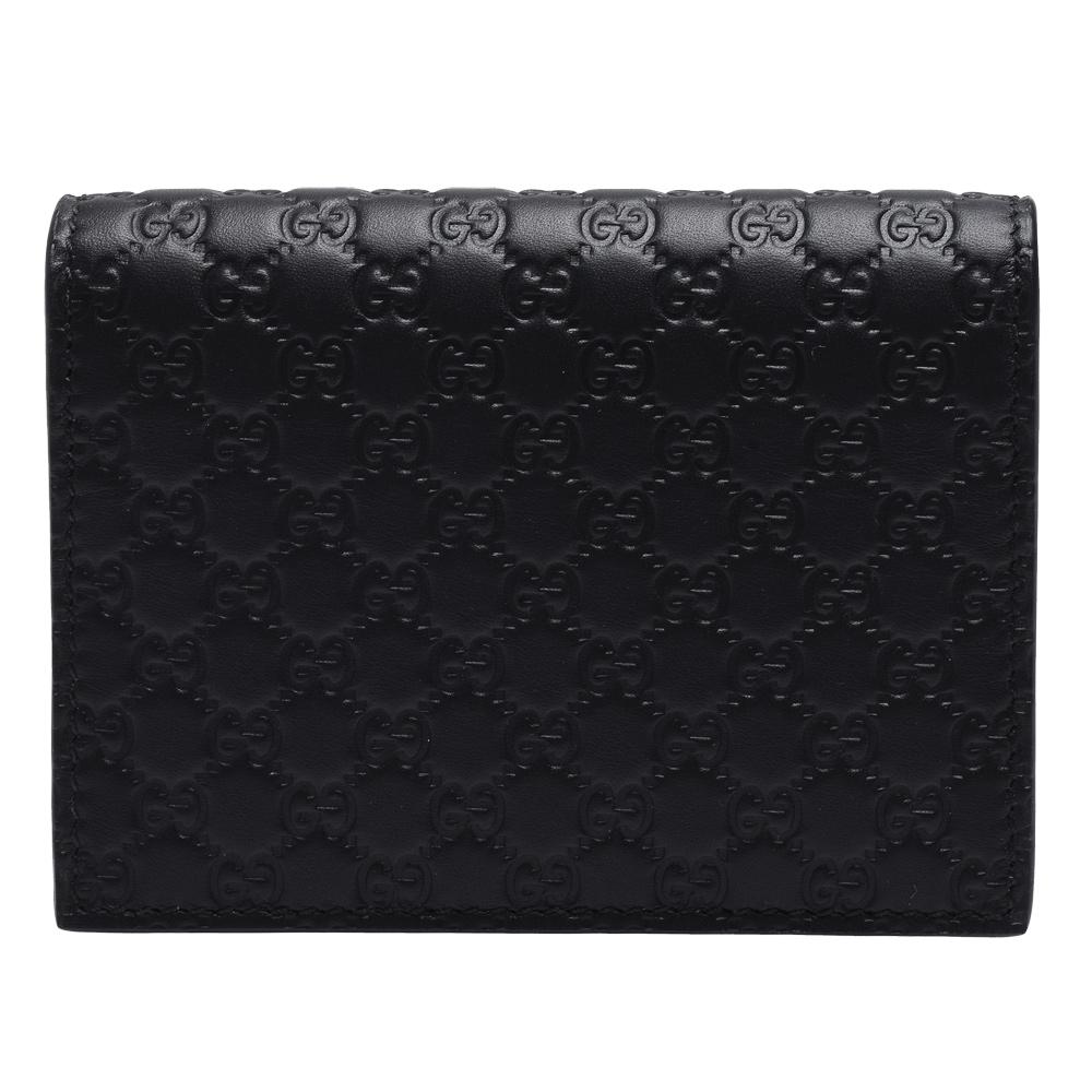 GUCCI 經典Guccissima GG壓紋牛皮暗釦信用卡夾(黑色-附零錢袋) @ Y!購物