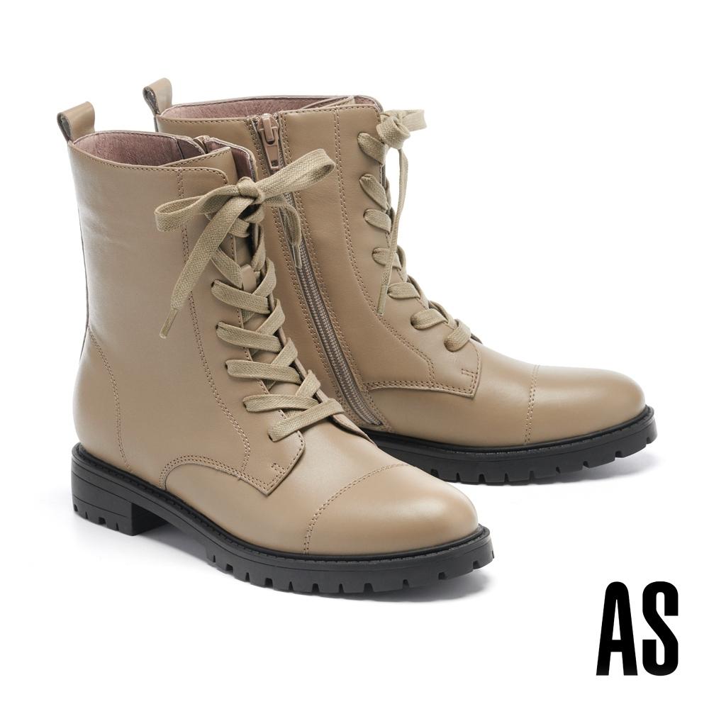 短靴 AS 時尚帥氣登山風厚底綁帶低跟短靴-米