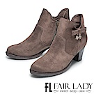 Fair Lady 優雅美型鑽飾麂皮粗跟短靴 摩卡